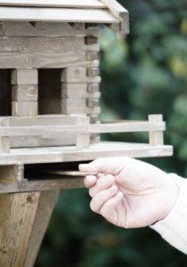Vogelhaus mit Schublade für die Körner
